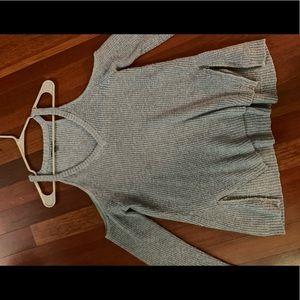Cut out shoulder sweater w/ zipper embellishments